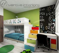 Projekt pokoju dziecięcego Inventive Interiors - farba tablicowa, łóżko piętrowe ze schowkami w stopniach