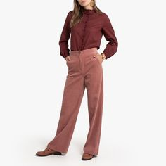 Pantalon droit large en velours côtelé rose blush la redoute canon Zara, Blouse, Khaki Pants, Suits, Canon, Fashion, Corduroy Jacket, Skirt, Green Dress