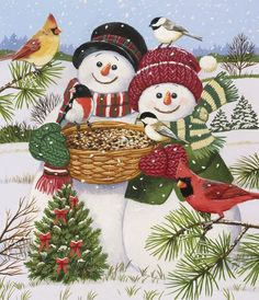Snow Couple Feeding Birds by William Vanderdasson ~ snowmen Christmas cardinal