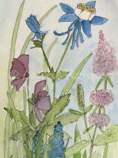 Columbine Watercolor Miniature Original Painting Botanical Garden Flower Art - Laurie Rohner Studio