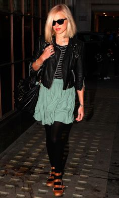Fearne Cotton Looks Super Cool In Shades And A Leather Jacket, January 2012