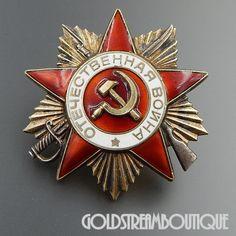 Soviet Russia USSR WWII Original Order of the Patriotic War 2nd Class Original Badge # 2428933