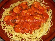 Γαρίδες με κόκκινη σάλτσα και σπαγγέτι