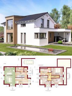 Einfamilienhaus modern mit Satteldach Architektur & Design Carport - Haus bauen Grundriss Fertighaus Edition 4 V2 Bien Zenker Hausbau Ideen - HausbauDirekt.de