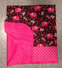 Girls Hot Pink Minky with Pink Elephant .....Baby to Preschooler Blanket on Etsy, $40.00