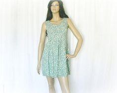 Vintage 90s Romper Mini Dress S Grunge Sage Floral at PopFizzVintage, $25.00