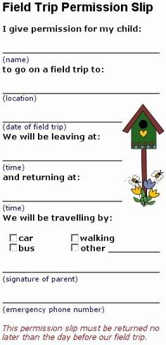 Field Trip Permission Slip form Beautiful 17 Best Images About Class Field Trips On Pinterest Daycare Forms, Kids Daycare, Home Daycare, Preschool At Home, Preschool Lessons, Daycare Crafts, Daycare Ideas, School Ideas, Field Trip Permission Slip