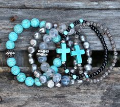 Summer 2018 Turquoise Cross Black Stone Beaded Bracelet by Bracelet Cuir, Bracelet Set, Bracelet Making, Jewelry Making, Pandora Bracelets, Pandora Jewelry, Jewelry Bracelets, Jewelry Box, Cross Bracelets