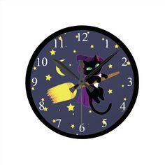 Flying Witch Cat Round Clock #cats #pets #animals #blackcat #halloween