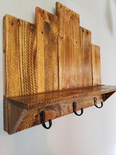 Key Hooks with Shelf   Etsy Wooden Pallet Projects, Diy Pallet Furniture, Diy Furniture Projects, Wooden Pallets, Wooden Diy, Furniture Storage, Cool Wood Projects, Palet Projects, Repurposed Wood Projects
