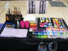 Becstar Artist/Anthony - painting kit Face painter's set up #facepaint #facepainting #facepaintschool