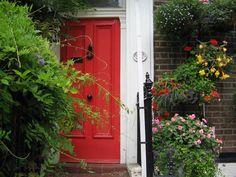 Red Door with flowers