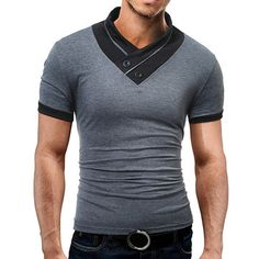 Mens Stylish Polo Shirt Printed Collar Short Sleeve Spring Summer Casual Tops - Newchic Mobile.