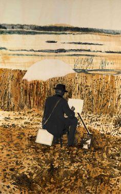 Mamma Andersson (Swedish, b. Star-Gazer, Oil on poplar panel, 160 x 100 cm. Painter Artist, Artist Art, Art Basel Hong Kong, Paint Photography, New Artists, Stargazing, Figure Painting, Contemporary Paintings, Figurative Art