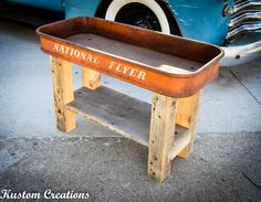 Looking for a unique coffee/ side table??   How about red wagon top with 100% Reclaimed Lumbers Legs and lower shelf!!  facebook.com/kustom.creation
