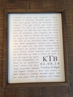 Beautiful gift for your one year {paper} anniversary. Wedding song lyrics framed as a constant reminder of that special day! Born Again by Third