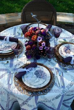 Love the colors and the quilt tablecloth.