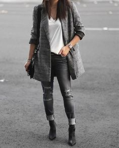 Distressed jeans x Checked x Sock booties goodness.  Full look on theVersastyle.com or Shop this look  http://liketk.it/2tmDy #liketkit @liketoknow.it