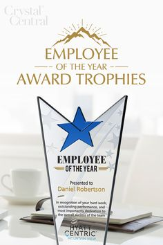 Are you looking for a memorable way to honor your star Employee of the Year who goes above and beyond? Consider this beautifully designed star crystal employee recognition award plaque, a gorgeous trophy to reward you best employees and keep morale high. This stunning Employee of the Year award really sends a strong message. It is made with the finest material, 100% optical crystal. It is designed with beautiful textured and frosted stars. Recognition Awards, Employee Recognition, Plaque Design, Corporate Awards, Above And Beyond, How To Memorize Things, Presents, Place Card Holders, Strong