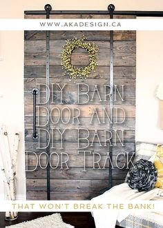 DIY Barn Door and DIY Barn Door Track That Won't Break the Bank! Do you love the look of barn doors but not the price tag? We've got a DIY Barn Door and DIY Barn Door Track tutorial - that won't break the bank! Diy Barn Door Track, Decor, Home Diy, Doors, Barn Wood, Rustic House, Home Remodeling, Home Projects, Home Decor