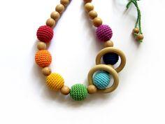 Sale Rainbow juniper nursing necklace with wooden by BestForKids