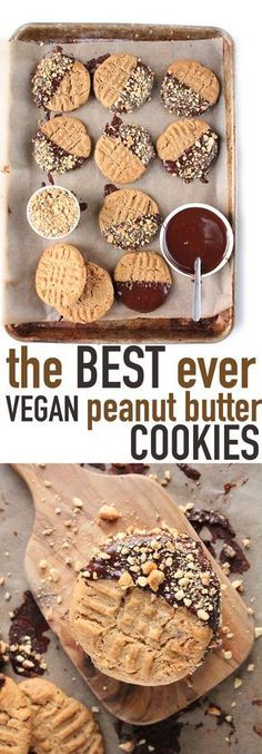 These chewy vegan peanut butter cookies may be the best you've ever had! Click the photo for the full recipe. These chewy vegan peanut butter cookies may be the best you've ever had! Click the photo for the full recipe. Low Carb Dessert, Vegan Dessert Recipes, Easy Cookie Recipes, Vegan Baking Recipes, Coconut Recipes Vegan, Healthy Vegan Desserts, Baking Desserts, Delicious Recipes, Healthy Food