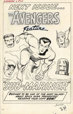 Avengers#2(1963),original art of add for Avengers#3(1964)featuring Sub-Mariner pin up by Kirby.