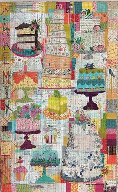 Cake Mix Collage Wall Hanging Quilt Pattern by Fiberworks History Of Quilting, Hanging Wall Art, Wall Hanging Quilts, Quilted Wall Hangings, Quilting Designs, Art Quilting, Fabric Art, Fabric Crafts, Pattern Mixing