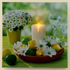 PREMIER LED ILLUMINATED LIGHT UP WALL ART DAISY LEMON FLOWER CANDLE CANVAS PRINT