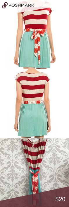 HOLIDAY SALE - Striped Self-tie Dress Mini dress in mint and red, with a polka dot ribbon tie. You could remove the tie; loops are same material as dress so I don't think they'd be super noticeable. Could also tie in back! Rayon & spandex; made in USA mockingbird + poppy Dresses Mini
