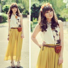 Flowers.  (by Maddy C) http://lookbook.nu/look/3806015-Wreath-Blouse-Skirt-Flowers