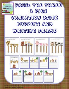 free printable for a variation of the 3 little pigs with squirrels, stick puppets to cut out, and story writing frame