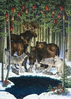 Christmas Gathering Art Print by Lynn Bywaters. All prints are professionally printed, packaged, and shipped within 3 - 4 business days. Choose from multiple sizes and hundreds of frame and mat options. Christmas Animals, A Christmas Story, Christmas Pictures, Christmas Art, Beautiful Christmas, Winter Christmas, Vintage Christmas, Christmas Paintings, Yule