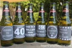 40th Birthday Beer & Wine Printable Labels