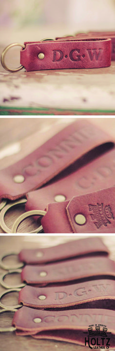The Tucker Fine Leather Key Chain is handmade right here in our shop with the finest of Full Grain American leathers. We hand pick our leather hides from a local tannery ~ for a rustic look and feel. This is a gift that will be used and loved for a lifetime!
