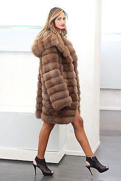 Russian Sable Fur Hooded Coat