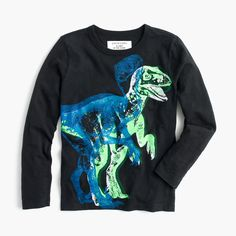 Boys' Long-sleeve Glow-in-the-dark 3D Dino T-shirt in Navy Charcoal (J Crew)