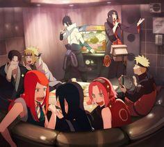 Naruto Shippuden, Uchiha Family with Namikaze Family, Naruto, Minato, Fugaku, Kushina, Mikoto, Sakura Sasuke, Itachi,