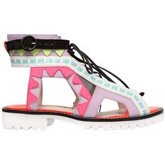 SOPHIA WEBSTER 30mm Riko Leather & Patent Sandals - Pink/Violet ($525) ❤ liked on Polyvore featuring shoes, sandals, flats, boots, lace up flats, pink sandals, leather shoes, multi colored sandals and leather flats