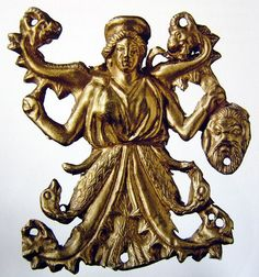 Gold clothing plaque with Scythian goddess, Crimea, ca 350 BC, Hermitage
