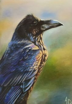 Pastel Paintings, Animal Paintings, Raven, Bird, Animals, Color, Animales, Animaux, Pet Pictures