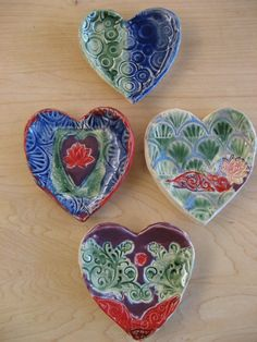 Ceramic hearts made by my third graders at SunRidge School