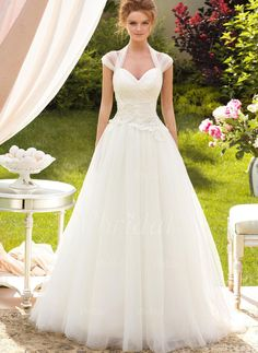 A-Line/Princess Sweetheart Halter Sweep Train Ruffle Appliques Lace Tulle Lace Up Cap Straps Sleeveless Church Garden / Outdoor No Spring Summer Fall Ivory White Wedding Dress