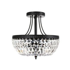Jessica Crystal Basket Antique Bronze Flush Mount Chandelier - Overstock Shopping - Big Discounts on The Lighting Store Flush Mounts Flush Mount Chandelier, Chandelier Shades, Flush Mount Ceiling, Flush Mount Lighting, Chandelier Pendant Lights, Entry Lighting, Hallway Chandelier, Black Chandelier, Elk Lighting