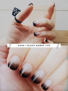Nude Blk Ombre Tips