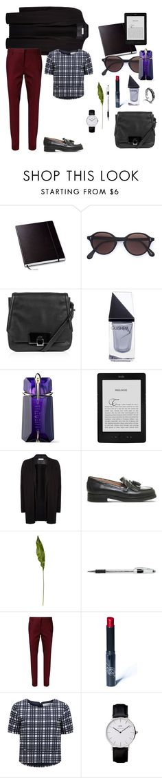 """""""Business travel"""" by diabolissimo ❤ liked on Polyvore featuring Oliver Peoples, Kooba, GUiSHEM, Thierry Mugler, Sandro, Office, CB2, Pentel, Dorothee Schumacher and Rituel de Fille"""