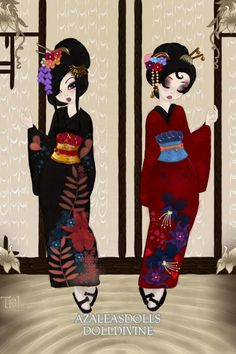 Geisha Fashion- The Dark-ish Kimono Collection (TAKEN) Red one belongs to BBChan& Black one belongs to The_Nameless ~ by TheNightLife ~ created using the Pixie doll maker | DollDivine.com