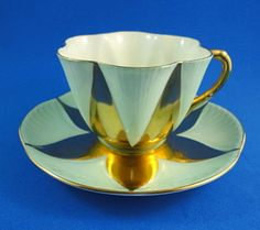 Rare Mint Green & Gold Star Design Dainty Shape Shelley Tea Cup and Saucer Set