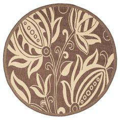 "Gori Rectangle 6'7"" X 9'6"" Outer Patio Rug - Chocolate / Natural - Safavieh, Brown"
