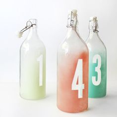 Watercolor Ombre Table Numbers